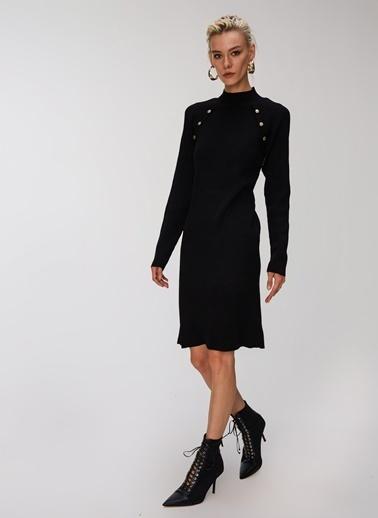 People By Fabrika Düğme Detaylı Triko Elbise Siyah
